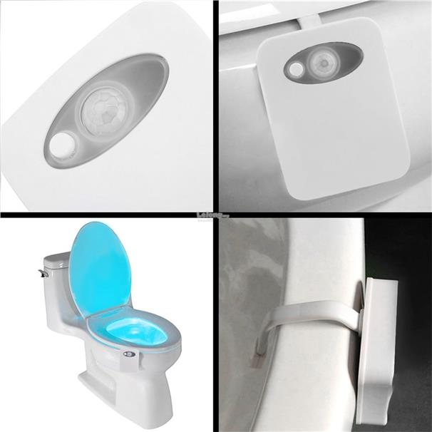 Smart LED Human Motion Sensor Light With 8 Color Toilet Seat Lamp
