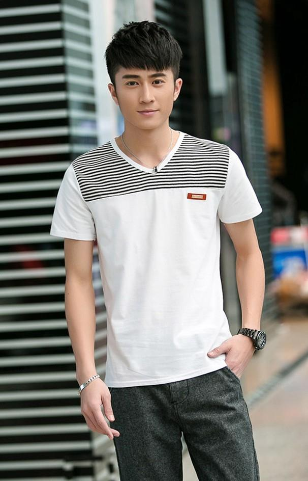 Smart Stripe V Men T-shirt (White)