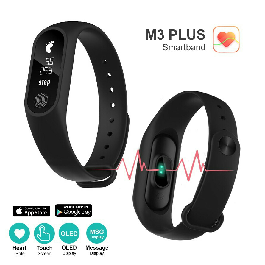 Smart Watch M3 PLUS Heart Rate Smartband Monitor OLED Fitness Tracker