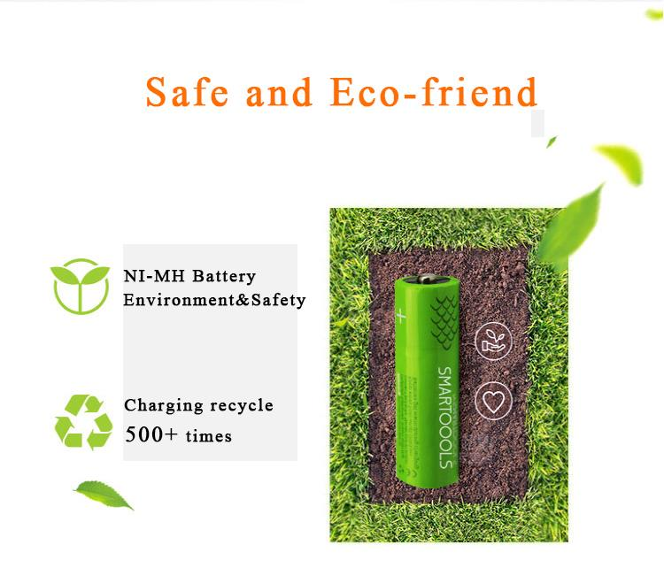 SMARTOOLS 2PCS Mirco USB Rechargeable Battery AAA 450mAh 1.2V Batterie