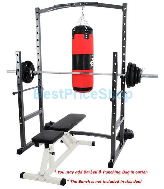 Charming Squat Rack Bench Part - 8: Smith Machine Bench Press Barbell Half Cage Squat Rack W- Punching Bag