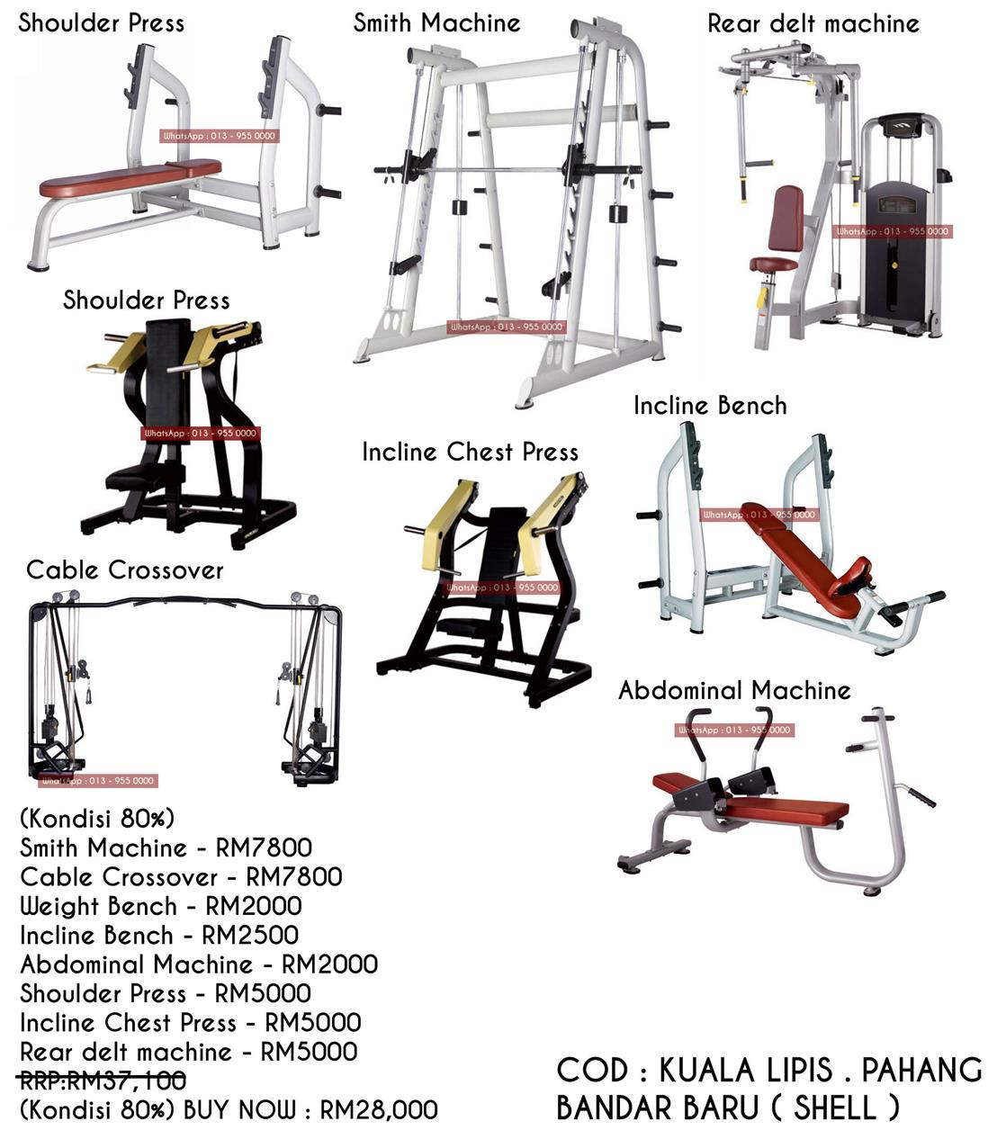 Smith Machine,Cable Crossover,Weight Bench,Incline Bench,Abdominal Mac