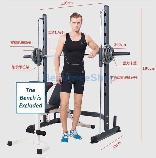 Smith Machine with Olympic Barbell Squat Rack Workbench Bench Press