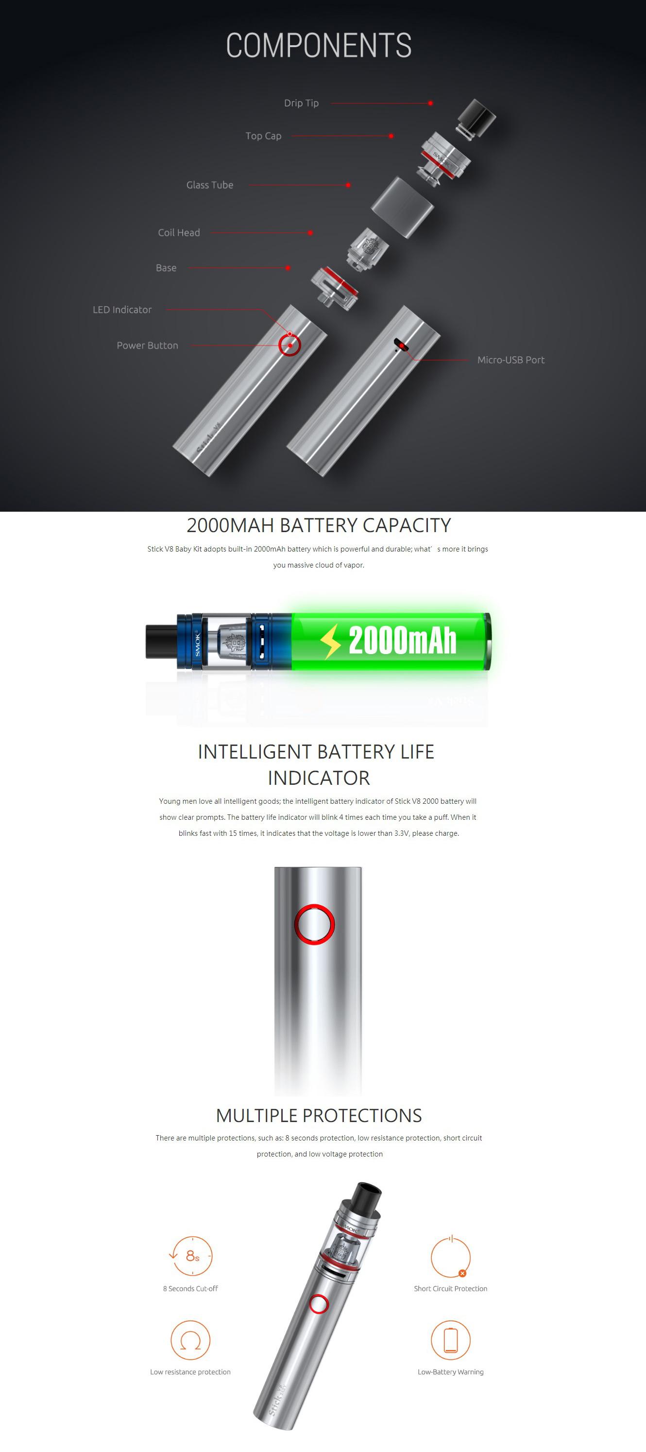 SMOK Stick V8 Baby Full Starter Kit (Vape e-cig) **ORIGINAL