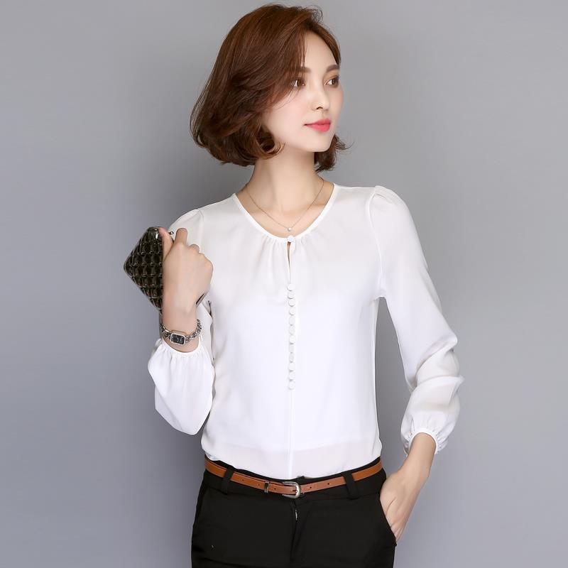 d2909cca221 Smooth Chiffon Blouse Long-Sleeve Ro (end 8 5 2019 12 46 PM)