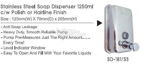 Soap Dispenser Polish Hairline Finish SD181SS 1250ML 120Wx70Dx205MM QQ