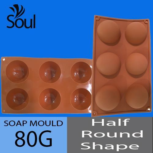 Soap Mould - 6x80G Soap Mould Half Round Shape