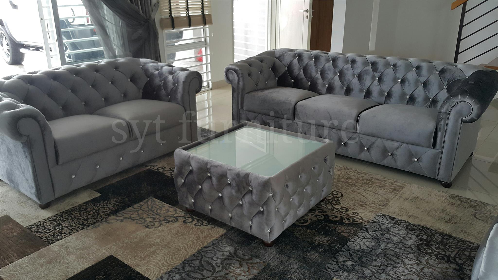 sofa chesterfield velvet 2+3 free ta (end 2 11 2016 6 39 PM)