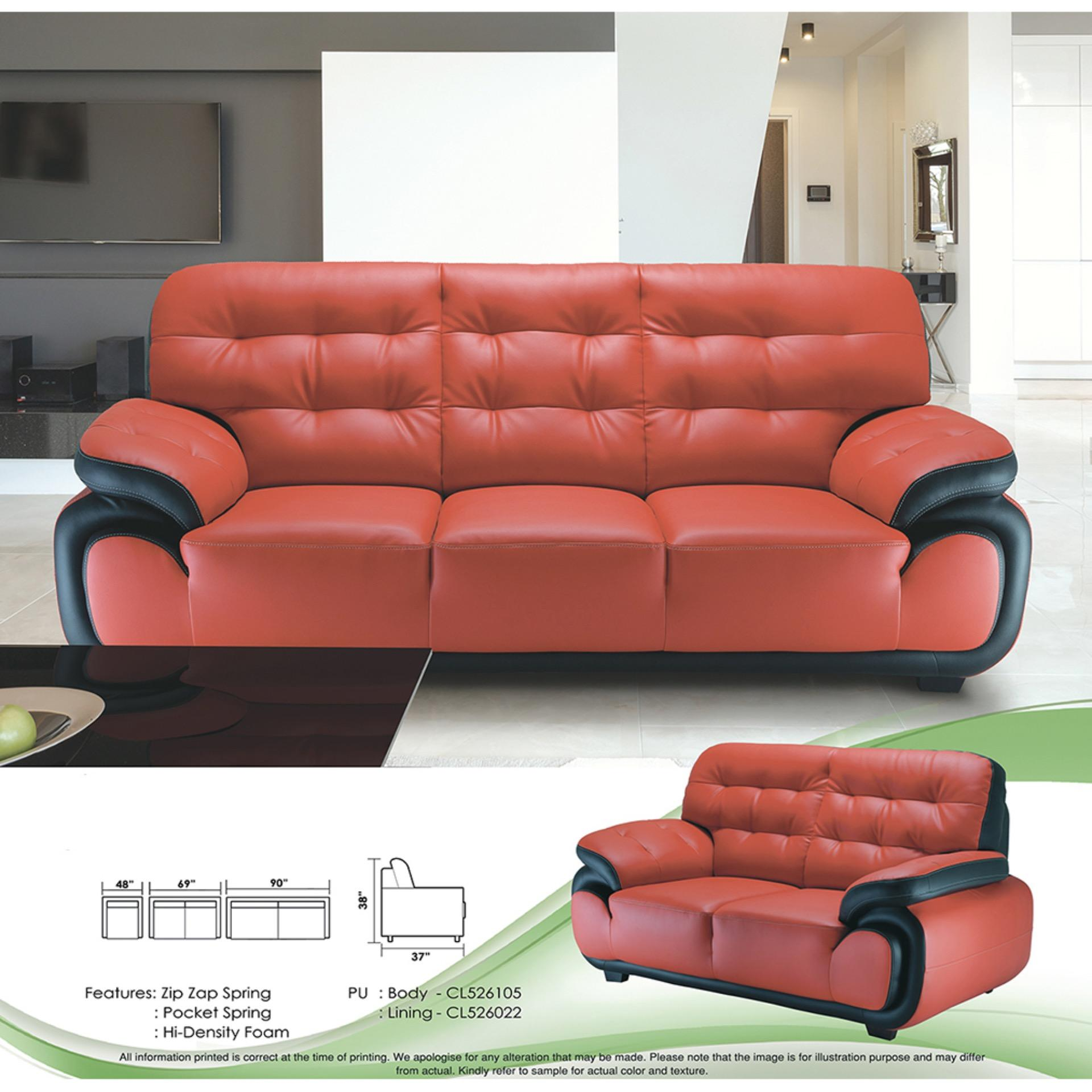 Sofa Set 1+2+3 Fully Leather Sofa (Red Color)
