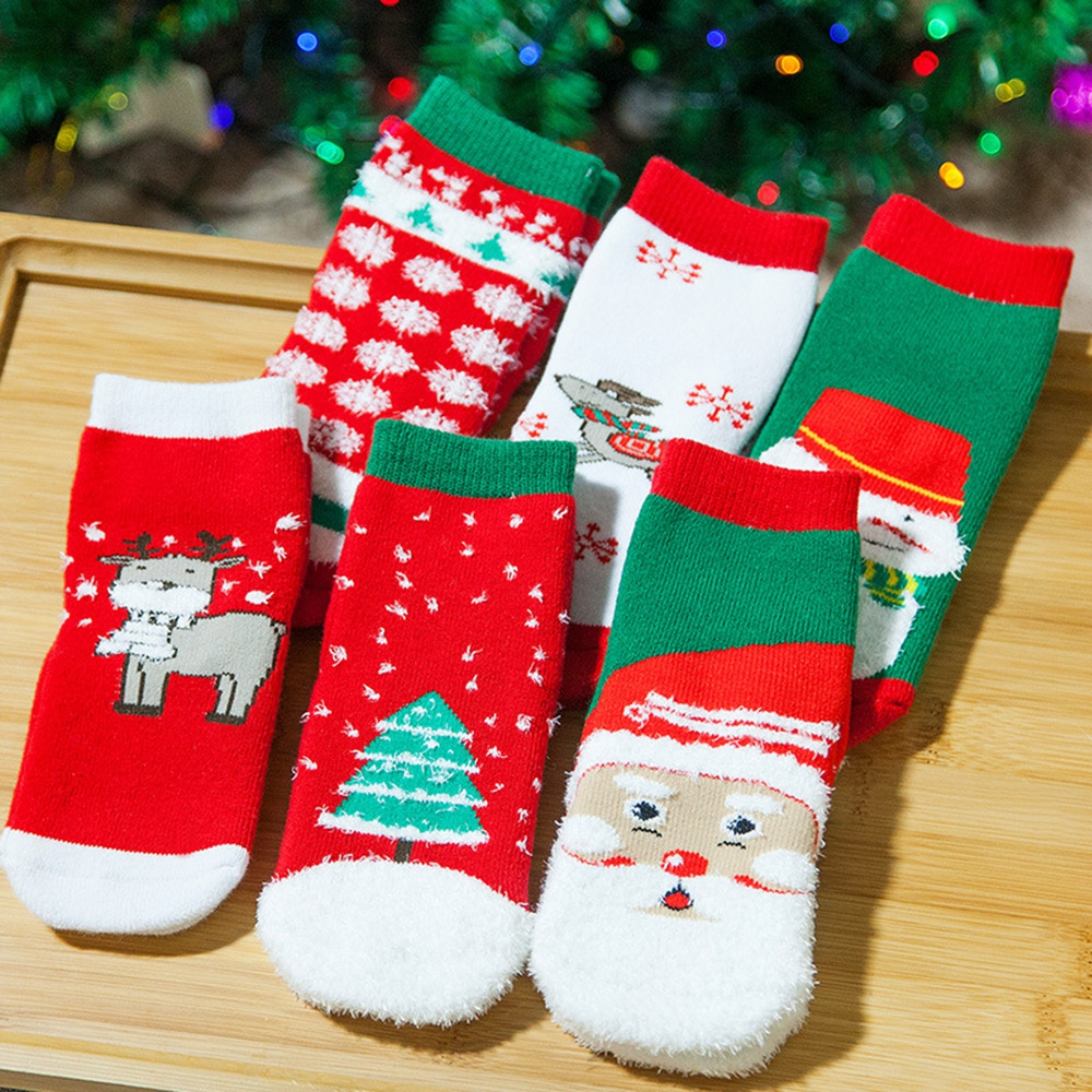 SOFT CHRISTMAS GIFT CHILD UNISEX CARTOON PRINT TERRY THICKENING TOWEL SOCKS  (S