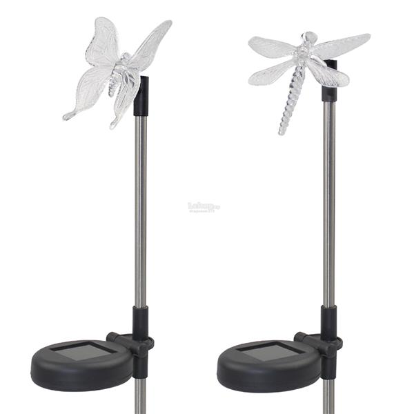 Solar Color-Changing Dragonfly Butterfly Garden Stake Light 2PCS