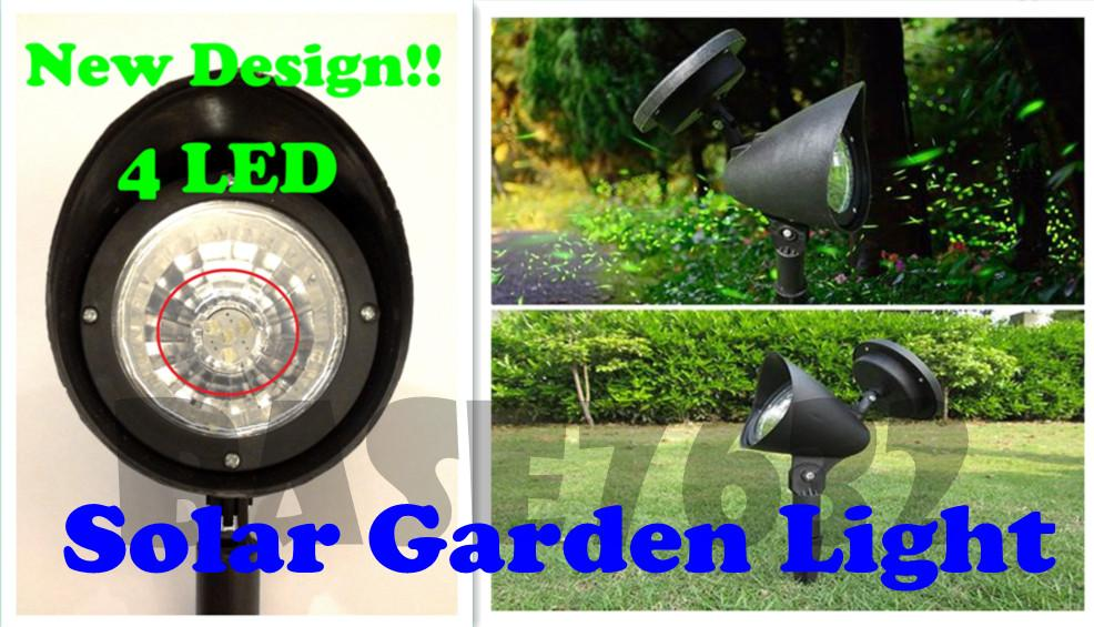 Solar  Garden 4Led Spotlight Spot Light Lamp Outdoor Lighting Black