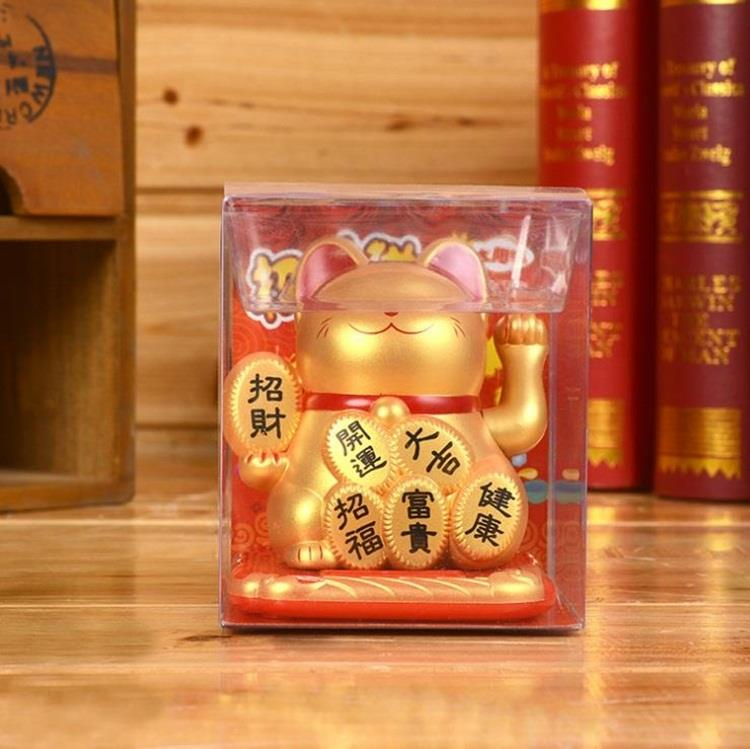 SOLAR GOLD LUCKY FORTUNE CAT 7CM
