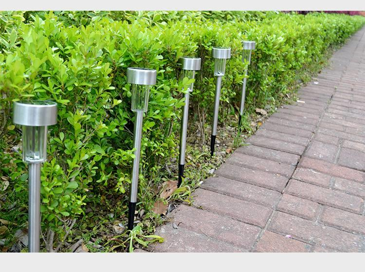 Solar LED Lawn Garden Light Stainless Steel