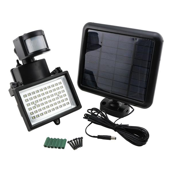 solar powered outdoor 60 led security light with motion sensor