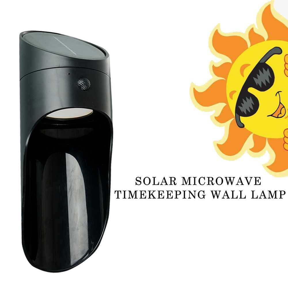 Solar Power Microwave Radar Sensor Timekeeping LED Light Wall Lamp