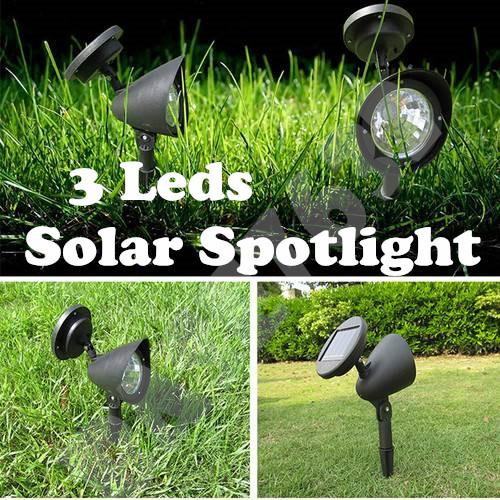 Solar Spotlight Garden 3Led Spot Light Lamp Outdoor Lighting Black
