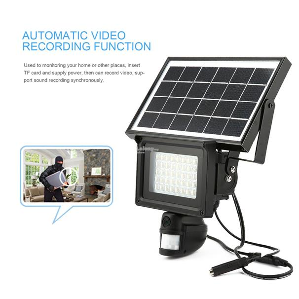 Solar Waterproof IR DVR Security Camera 720P PIR Motion Detection Vide