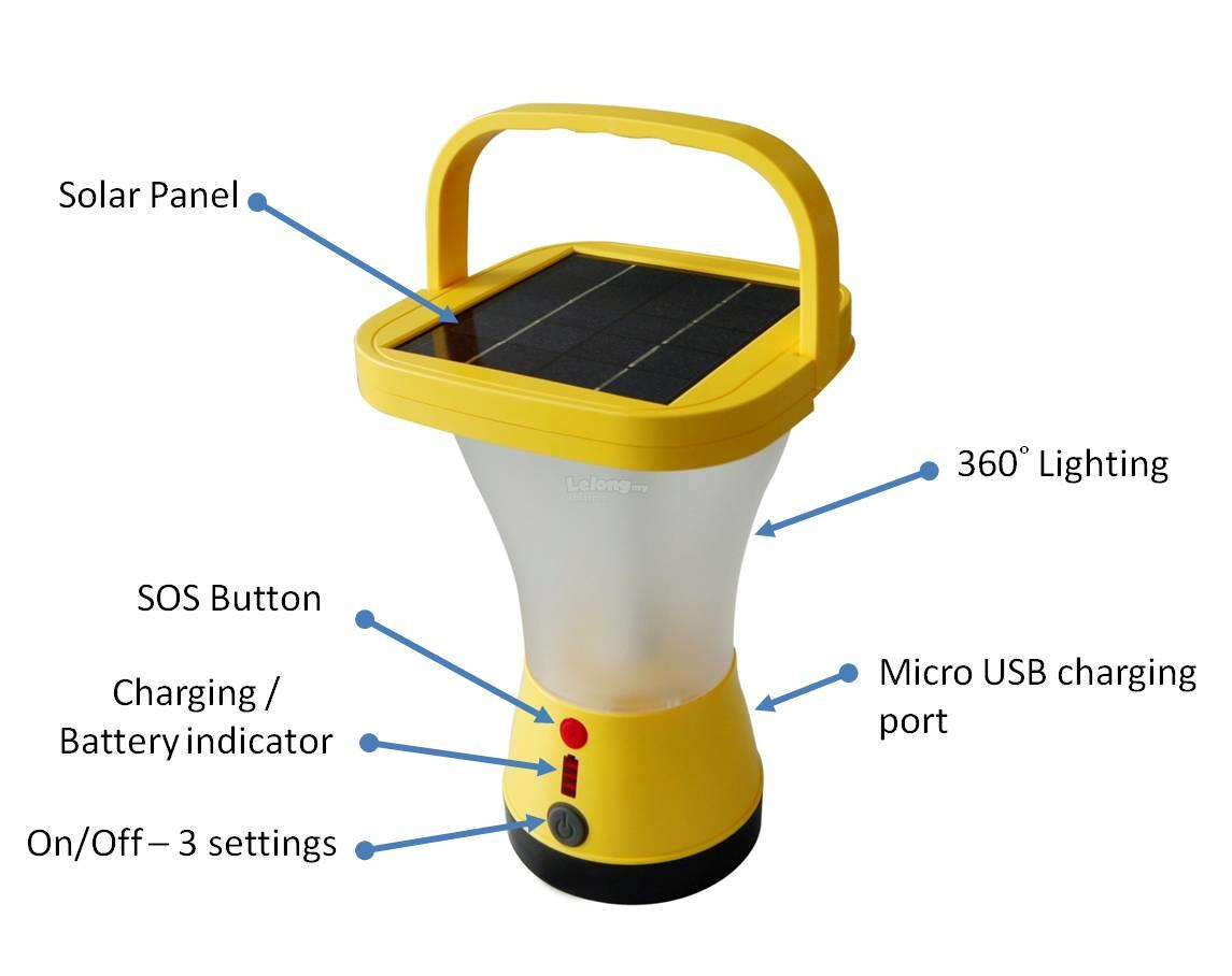 SOLARMO Solar Lantern Portable Indoor Outdoor Lights- 12 LED
