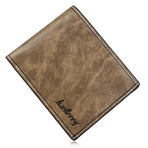 SOLID COLOR LETTER OPEN HORIZONTAL WALLET FOR MEN (LIGHT COFFEE)