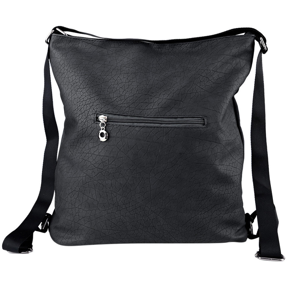 SOLID COLOR MAGNETIC ZIPPER PU LEATHER TRAVEL SHOPPING SCHOOL SHOULDER