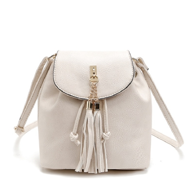 Solid Color Metallic Tassels Crossbody Bag
