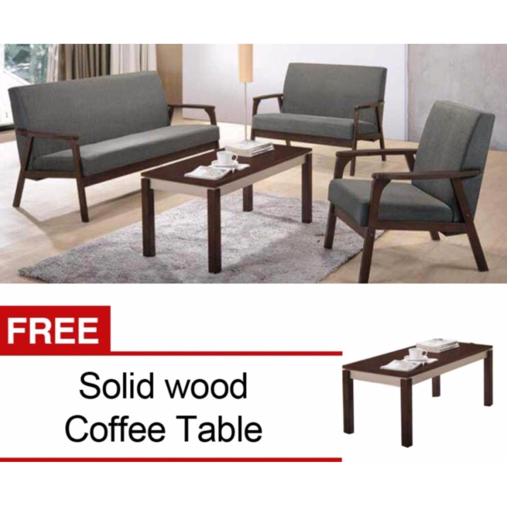 Wondrous Solid Wood 1 2 3 Fabric Sofa Set With Coffee Table Wood Sofa Download Free Architecture Designs Photstoregrimeyleaguecom