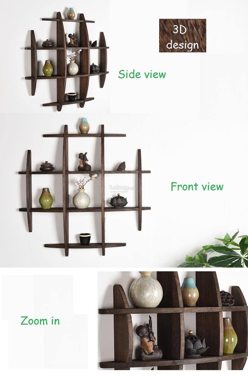 Solid Wood Antique Wall Shelves Shelf Display Decoration Rack