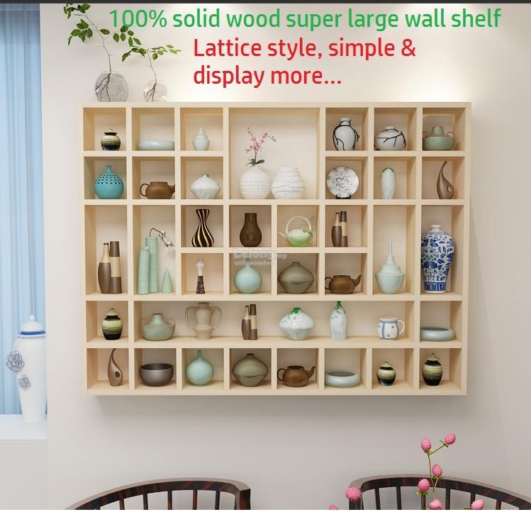 Solid Wood Wall Shelves Large Lattice Shelf Decor Grid Rack