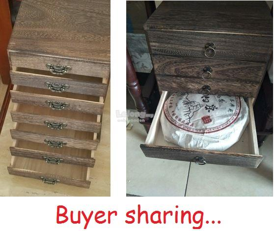 Solid Wood Chinese Pu Er Tea Storage Box, Puer Tea Cake Boxes