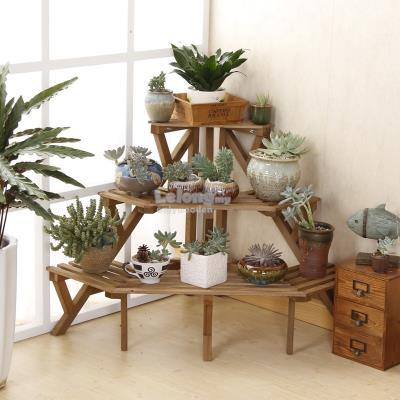 Solid Wood Corner Flower Rack, DIY Shelf, Garden Rack, Portable Shelve. U2039 U203a