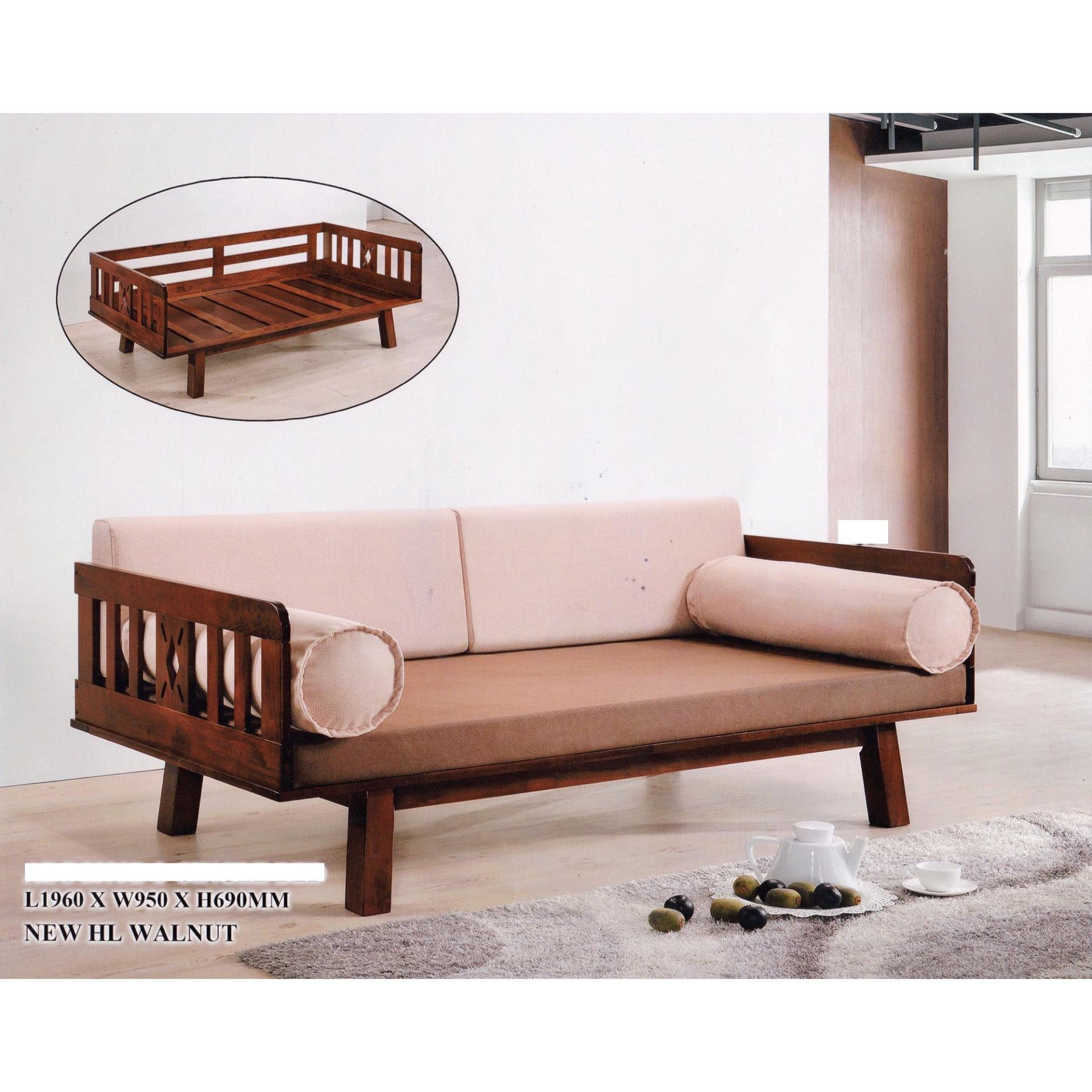 Solid Wood Fabric Sofa Bed Lounge Chair Bed Day Bed Cream Colour
