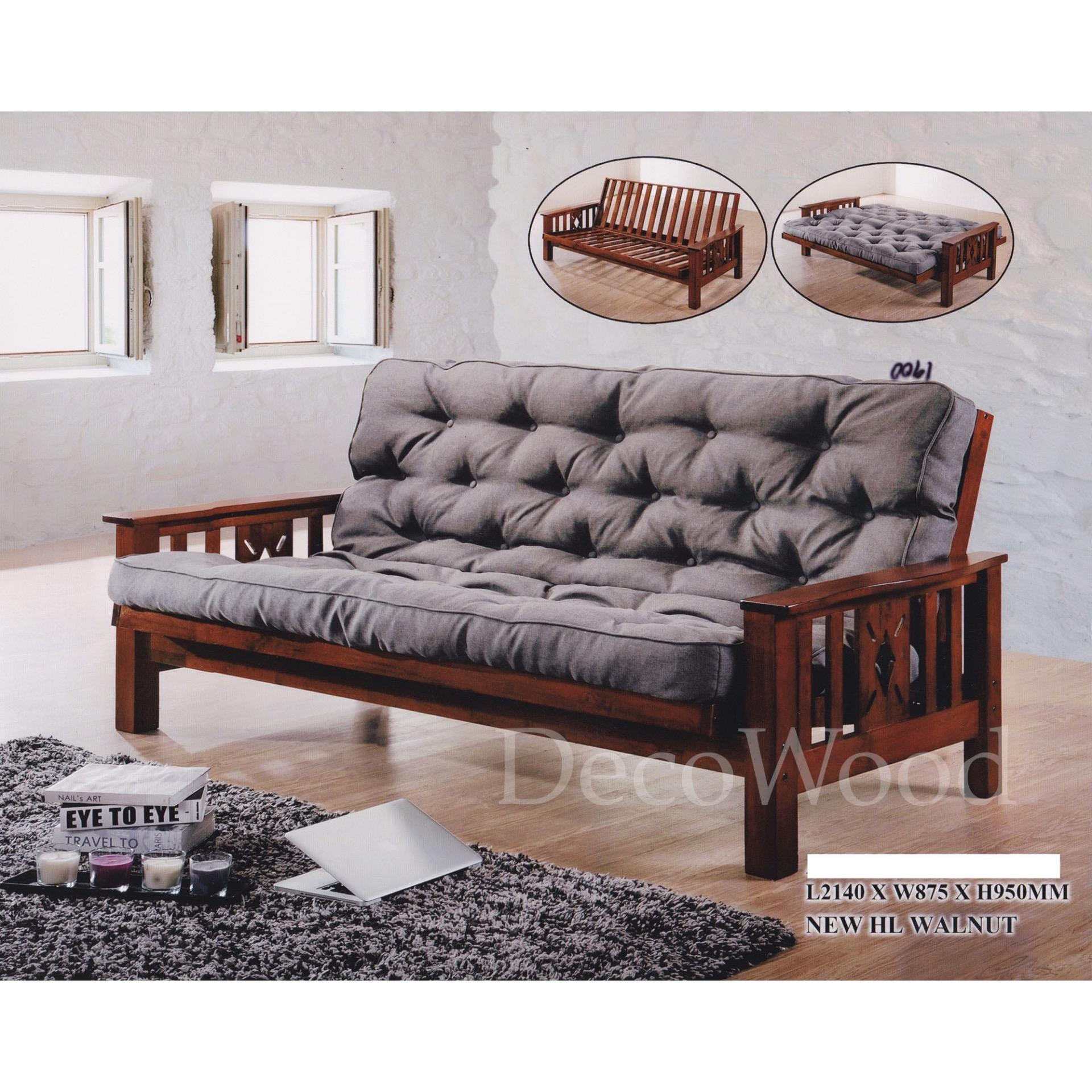 Solid Wood Fabric Sofa Bed Lounge Chair Bed Day Bed Grey Colour