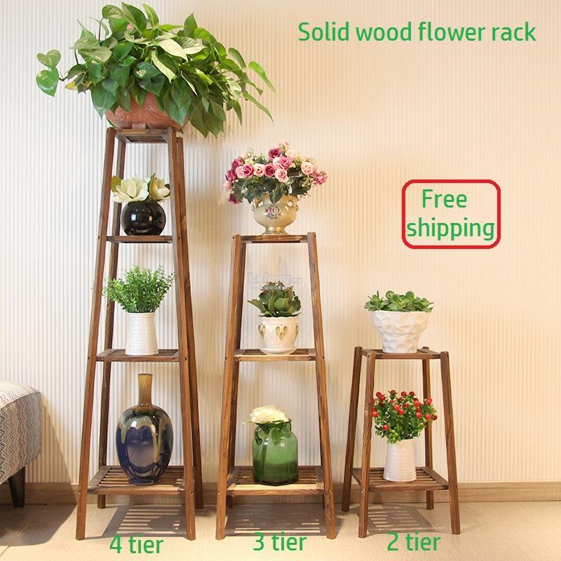 Solid Wood Flower Rack Pots Shelf Garden Diy Portable Shelve
