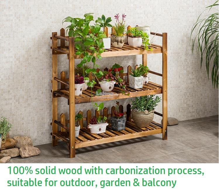 Solid Wood Flower Rack, Wooden Shelf, DIY Garden, 3 Tier Shelve