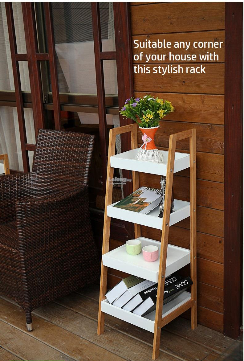 Solid Wood Ladder Style Shelve Bookshelf DIY Bookcase Portable Rack