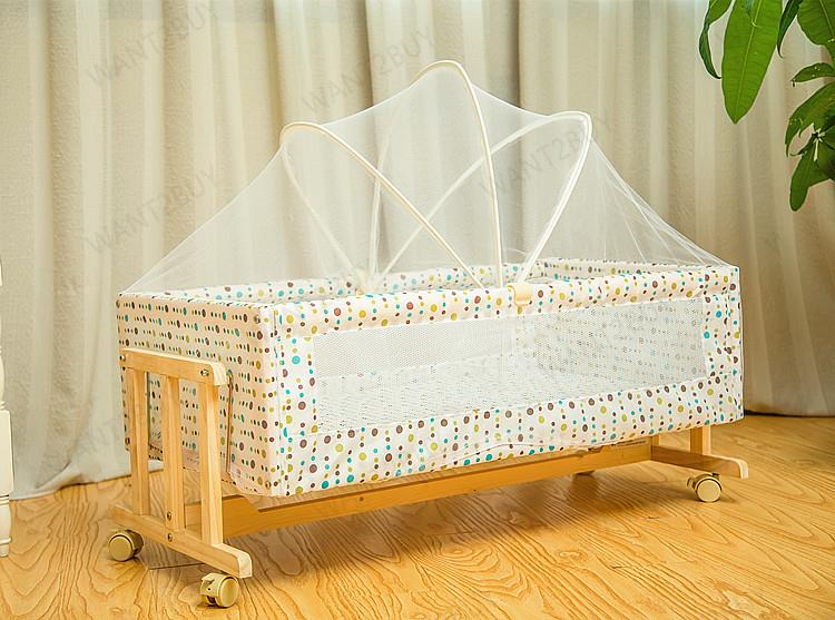 Solid Wood Newborn Baby Cot Cradle Crib Rocking Bed With Mosquito Net