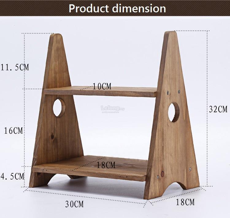 Solid Wood Small Flower Rack Office Desk Plant Shelf Table Shelves