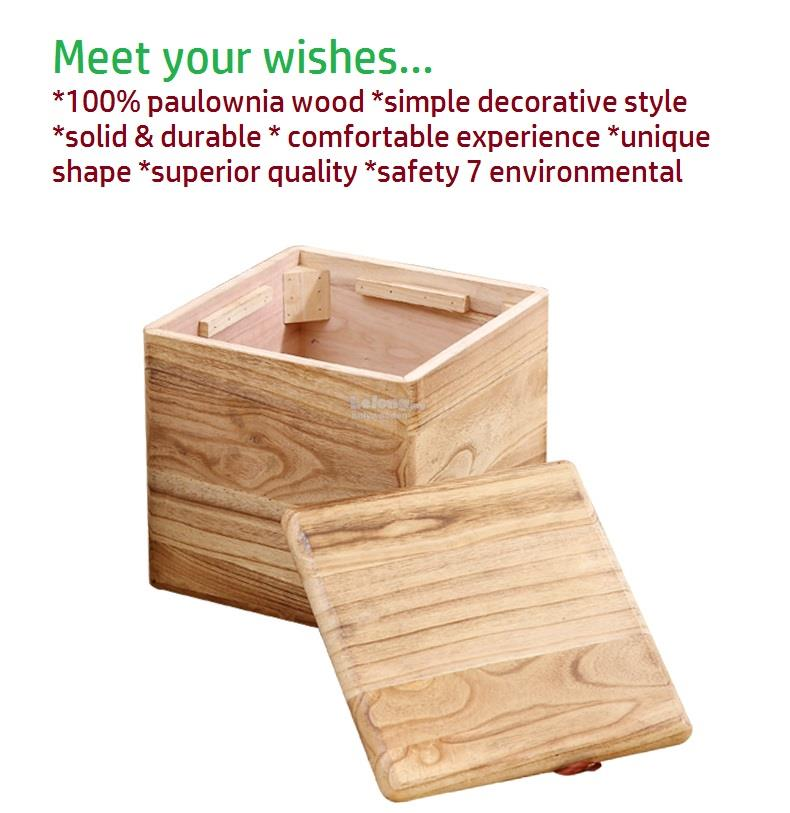 Solid Wood Storage Stool Box Wooden Chair Case Container