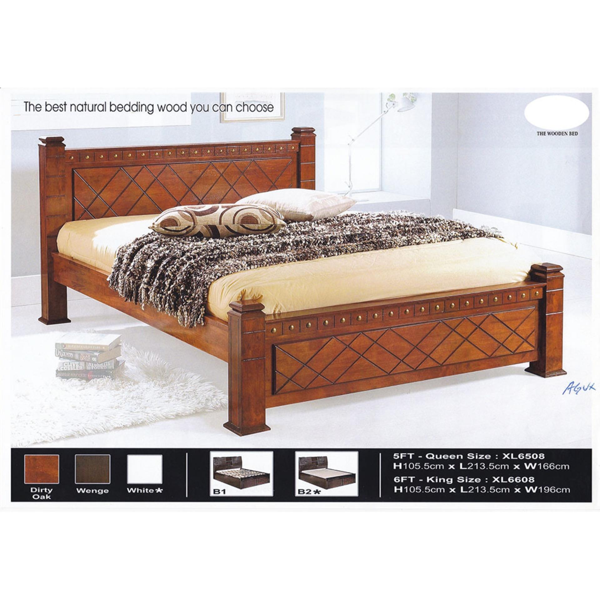 timeless design f4da4 c8631 Solid Wood Strong Queen Size Wooden Bed Frame L2135MM X W1660MM X H105