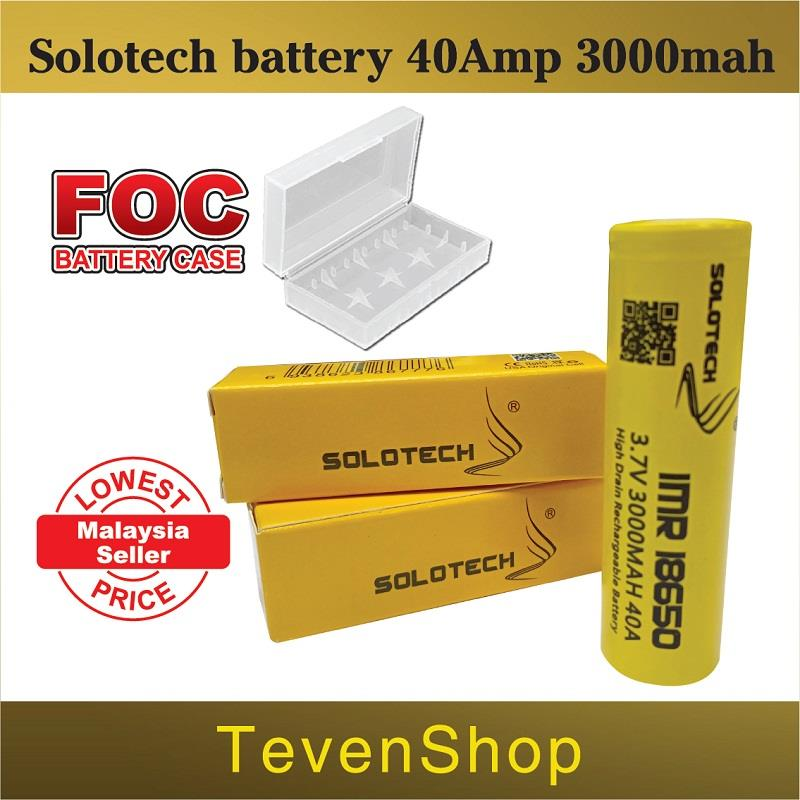 Solotech 18650 Battery 3000Mah HighDrain Rechargeable Battery Vape