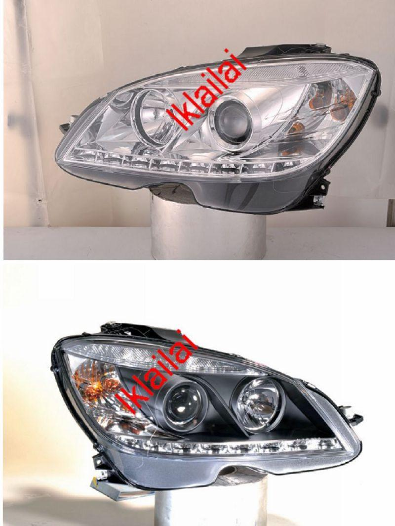 SONAR Mercedes Benz W204 `07 Head Lamp Projector Chrome W/Real DRL+Mot