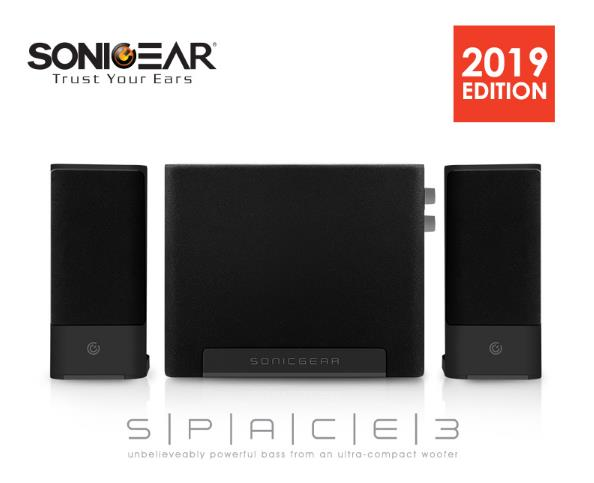 SONICGEAR SPACE 3 SPEAKER WITH SMALL AND SLIM SUBWOOFER MIDNIGHT GREY
