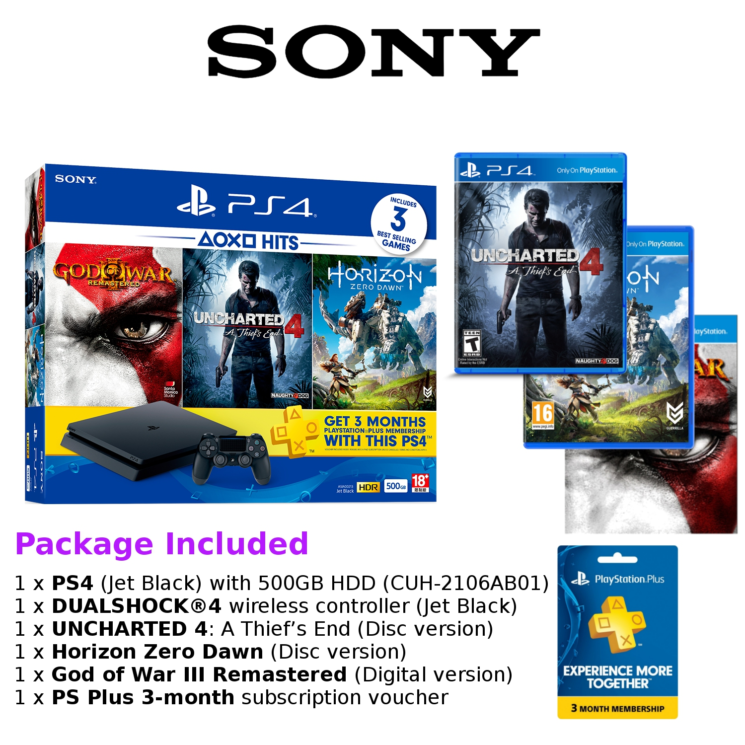 Sony Playstation 4 Slim 500gb Garansi Cuh 2006a Hits Bundle Ps4 500 Gb Black Budle Dvd Uncharted Collection Source