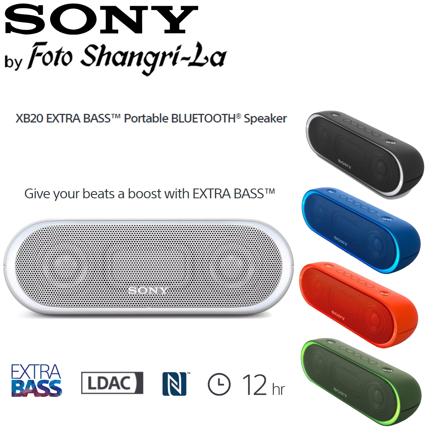Sony SRS-XB20 Extra Bass Portable Wireless Bluetooth Speaker Clear Audio
