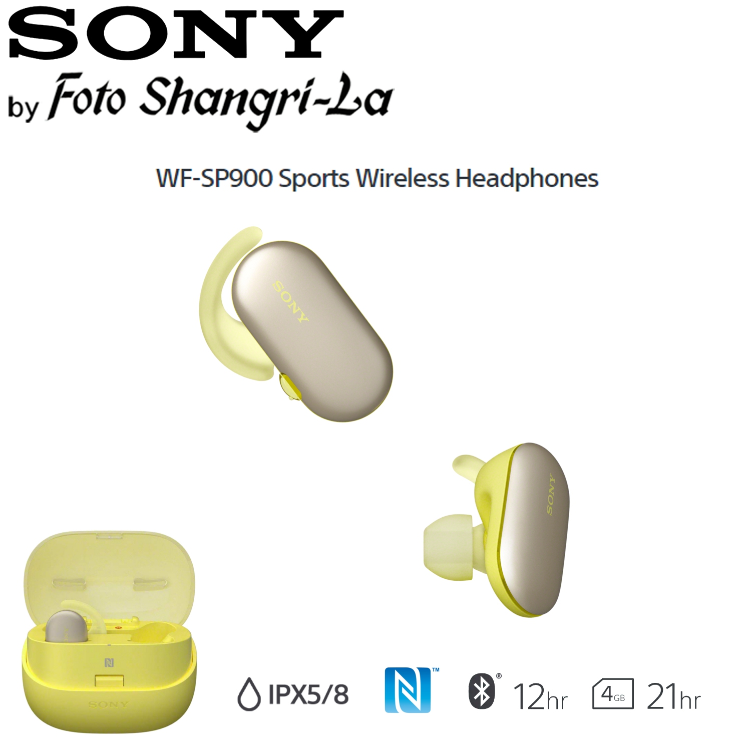 Sony WF-SP900 Sports Wireless Earbuds In-Ear Headphones Ambient Sound (Yellow)