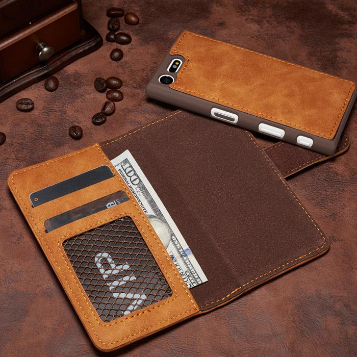 huge selection of feff9 bf241 Sony Xperia X compact Case Casing Cover 2 in 1 leather wallet + Gift