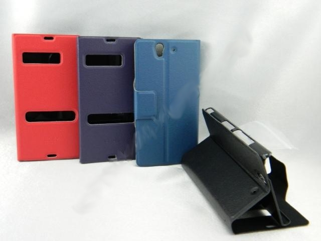 Sony Xperia Z L36h Side Flip Slim Pouch Table Talk Leather Case
