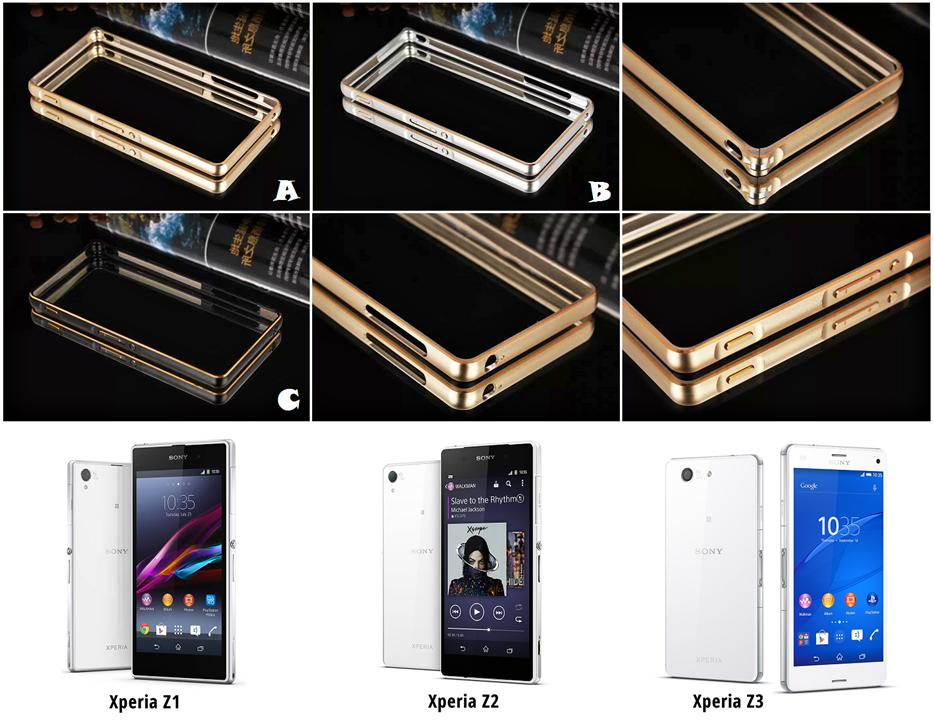 Sony Xperia Z1 Z2 Z3 Alloy Bumper Gold Arc Edge Case Cover *FREE SP*