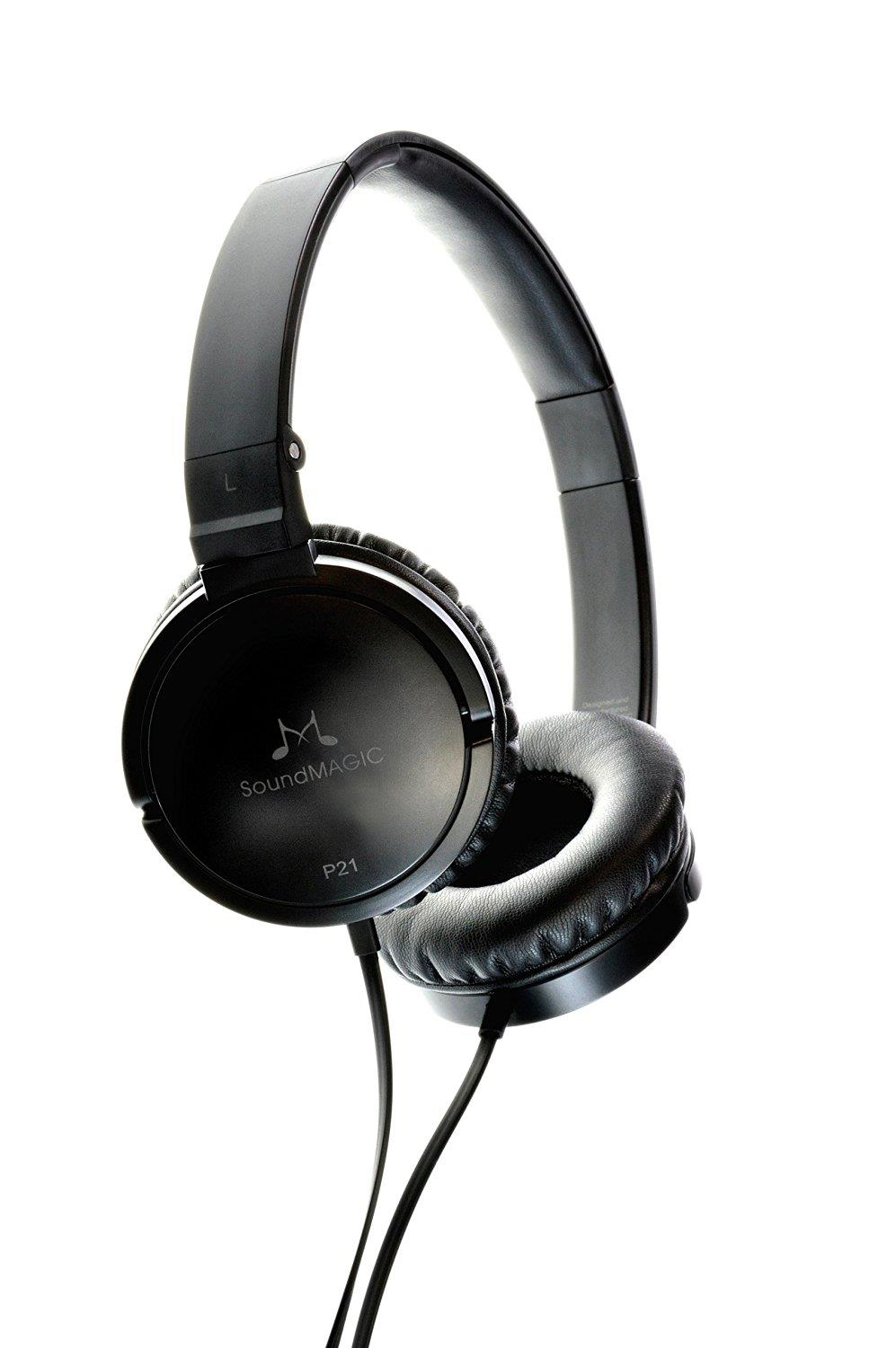 SoundMAGIC P21 Foldable Closed Back On Ear Headphones - Black/Grey